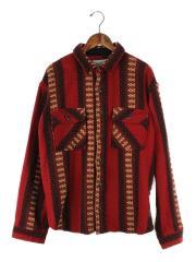 長袖シャツ/M/ウール/RED/グアテマラ/CPOシャツジャケット