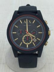 クォーツ腕時計/アナログ/ラバー/BLK/GRY