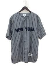 ストライプベースボールシャツ/XL/ウール/GRY/ストリート/セカスト/NY