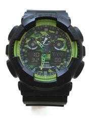 電波ソーラー腕時計/G-SHOCK/デジアナ/ラバー/GRN/BLK