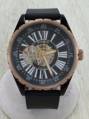 自動巻腕時計/アナログ/PVC/BLK/BLK