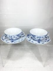 Cap & Saucer/Blue Fluted/Full Lace/1992-1999