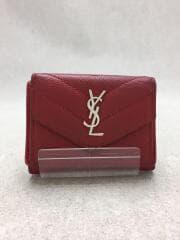 3つ折り財布/レザー/RED/無地/505118BOWA1