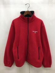 フリースジャケット/サイズ170/ポリエステル/レッド/刺繍/ロゴ/ジップアップ/赤
