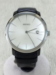 自動巻腕時計/アナログ/レザー/WHT/BLK