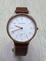 腕時計/アナログ/レザー/WHT