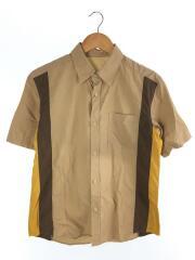 半袖シャツ/ボーリングシャツ/コットン/キャメル/サイドライン