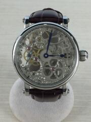 手巻腕時計/スケルトン/アナログ/レザー/SLV/BRW