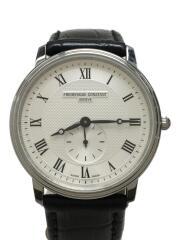 クォーツ腕時計/アナログ/レザー/WHT/BLK
