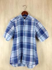 半袖シャツ/L/リネン/BLU/チェック/バンドカラー