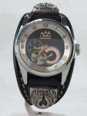 自動巻腕時計/アナログ/レザー/BLK/BLK/MJSS-37