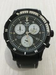 VOSTOK/クォーツ腕時計/アナログ/レザー/BLK
