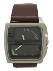 クォーツ腕時計/アナログ/レザー/GRY/BRW