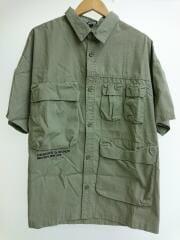 半袖シャツ/キープウォッチプリントミリタリーシャツ/XL/コットン/カーキ