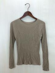 セーター(薄手)/リブクルーネックプルオーバー/--/アクリル/BEG
