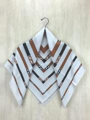 スカーフ/シルク/GRY/総柄