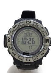 ソーラー腕時計/デジタル/--/SLV/BLK
