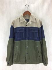 長袖シャツ/M/コットン/BEG/ボーダー