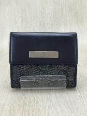 2つ折り財布/キャンバス/BLK/総柄/ユニセックス
