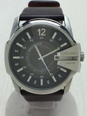 クォーツ腕時計/アナログ/レザー/SLV/BRW/DZ-1206