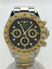 クォーツ腕時計/アナログ/BLK/GLD/TGM640