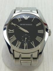 クォーツ腕時計/アナログ/ステンレス/BLK/SLV