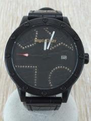 腕時計/アナログ/レザー/BLK/BLK/TW48