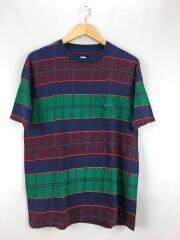 Tシャツ/M/コットン/NVY/チェック
