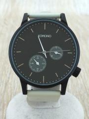 クォーツ腕時計/アナログ/レザー/BLK/WHT