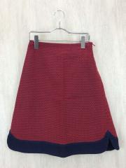 herringbone/スカート/--/ウール/カシミア混スカート/RED