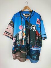 ベースボールシャツ/半袖シャツ/XL/コットン/ブルー/総柄/グラフィックシャツ/ワッペン