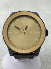 クォーツ腕時計/アナログ/GLD/BLK