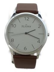 SKW6150/クォーツ腕時計/アナログ/レザー/BLK/BRW