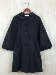 トレンチコート/M/コットン/BLK/無地/ロングコート/バルーン袖