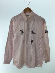 シナコヴァ/95408/刺繍/長袖シャツ/L/コットン/ピンク/ストライプ
