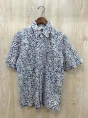 半袖シャツ/M/コットン/BLU/花柄/ヌードタグ