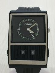 腕時計/アナログ/ラバー/BLK/BLK