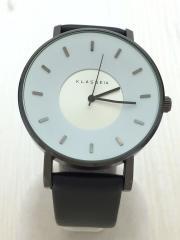 腕時計/アナログ/レザー/WHT/BLK/Volare
