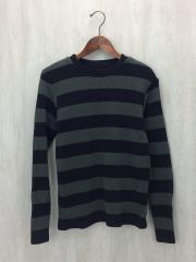 セーター(厚手)/M/コットン/BLK/ボーダー