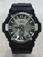 クォーツ腕時計/デジアナ/SLV/BLK