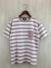 Tシャツ/M/コットン/BRW/ボーダー