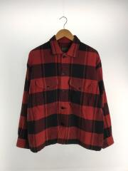 長袖シャツ/M/ウール/RED/チェック/used shirt