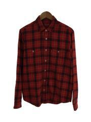 長袖シャツ/M/コットン/RED/チェック/Cotton Flannel Shirt