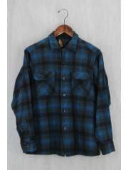ペンドルトン/50s/ネルシャツ/M/ウール/緑/背タグ取れ有り