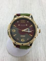 クォーツ腕時計/アナログ/レザー/SLV/GRN