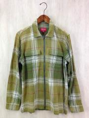 美品/17SS/Faded Plaid Flannel Zip Up Shirt/ネルシャツ/M/コットン/GRN