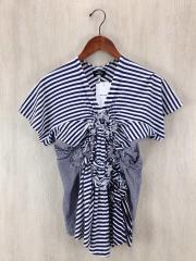 Tシャツ/--/コットン/BLU/ストライプ/TO-T071/AD2004/使用感有