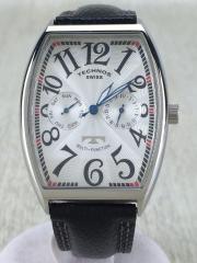 クォーツ腕時計/アナログ/WHT/BLK