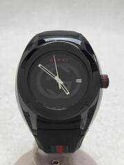 クォーツ腕時計/アナログ/ラバー/BLK/137.1/YA137101/SYNC/シンク/ブラック