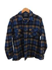 ネルシャツ/L/ウールシャツ/ブルー/ネイビー/チェックシャツ/70s/USA製